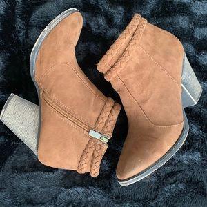 Brown swade heel booties
